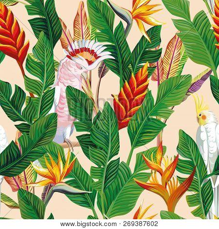 Exotic Bird Ara Parrot Tropical Flowers Bird Of Paradise Strelitzia Banana Leaves Seamless Beige Bac