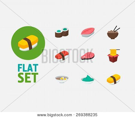Nutrition icons set. Saba nigiri and nutrition icons with egg soup, kappa maki and wasabi. Set of green for web app logo UI design. poster