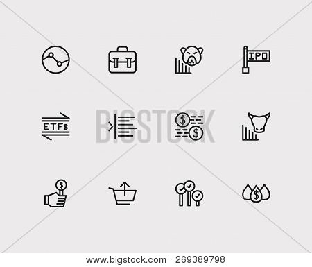 Trading Icons Set. Stock Sector And Trading Icons With Capitalization, Bear Market And Bid-ask Sprea