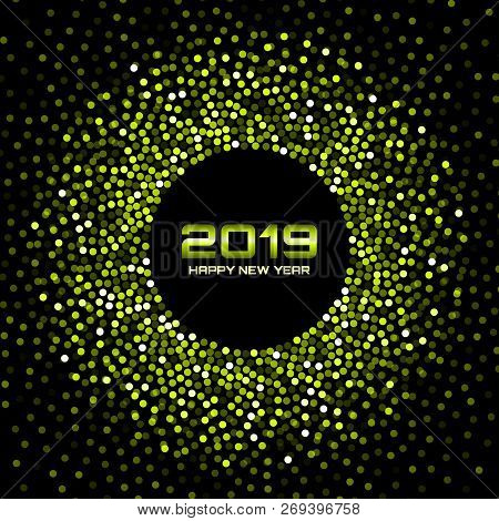 New Year 2019 Card Background. Green Glitter Paper Confetti. Glistening Green Disco Lights. Glow Cir