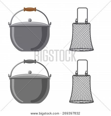 Vector Illustration Of Fish And Fishing Logo. Collection Of Fish And Equipment Vector Icon For Stock