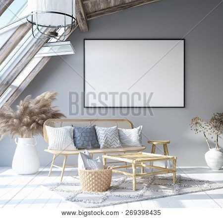 Mock Up Poster Frame In Home Interior Background, Scandinavian Bohemian Style Living Room In Attic,