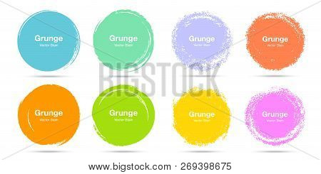 Hand Drawn Colorful Circle Brush Sketch Set. Vector Circular Grunge Doodles For Message Note Mark De