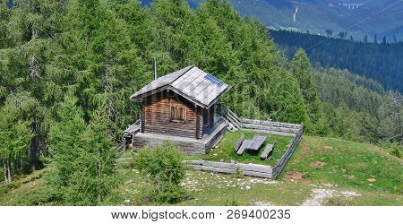 Old Wooden House, Gailtal Alps, View From The Hiking Trail On The Mountain Dobratsch, Carinthia, Aus