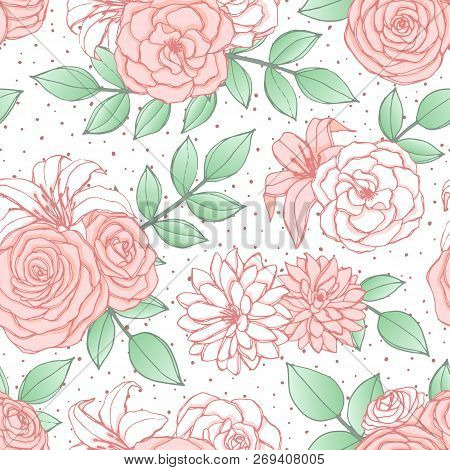Vector Seamless Pattern With Pink And White Lily, Chrysanthemum, Camellia, Peony And Rose Flowers An