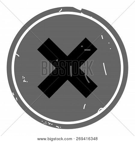 Cancel Icon Vector Web Button On Gray Background