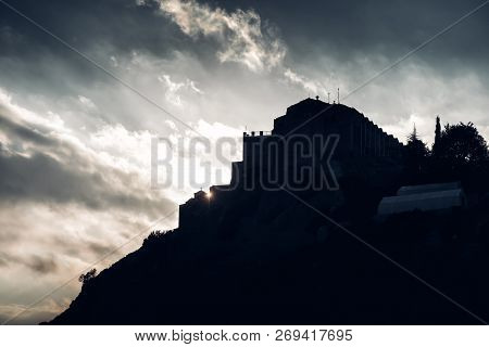 Silhouette Of Stavrovouni Monastery Onthe Hill. Larnaca District, Cyprus.