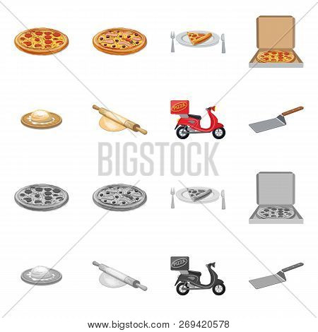 Vector Design Of Pizza And Food Logo. Set Of Pizza And Italy Stock Vector Illustration.