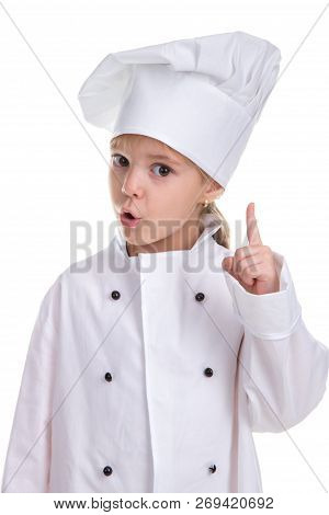 Attentive Girl Chef White Uniform Isolated On White Background, Looking Straight At The Camera With
