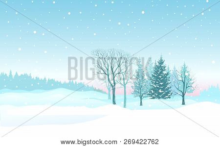Christmas Background. Snow Winter Landscape. Retro Merry Christmas Snowy Skyline. Winter Nature Holi