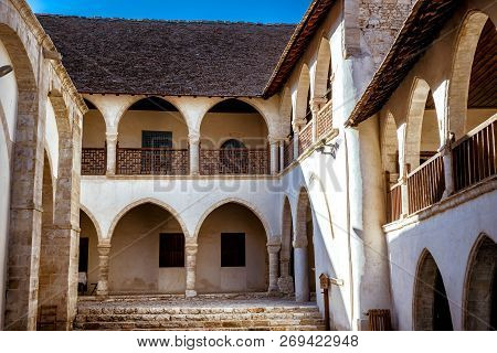 Timios Stavros Orthodox Monastery In Omodos Village. Limassol District, Cyprus.