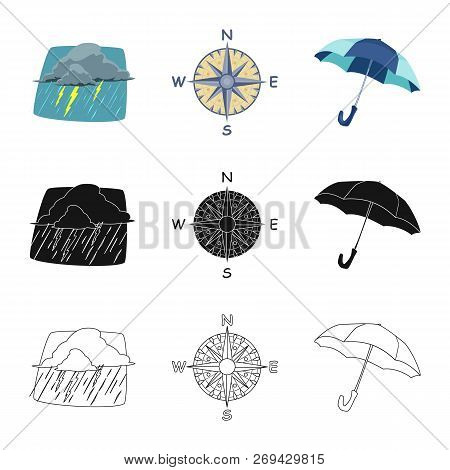 Vector Illustration Of Weather And Climate Icon. Collection Of Weather And Cloud Vector Icon For Sto