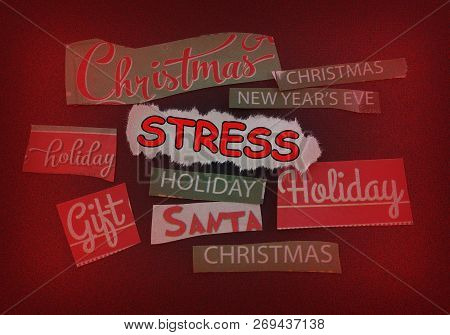 Stress Message Surrounded By Various Christmas And Holiday Themed Notes