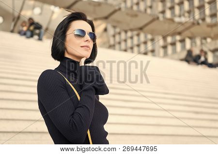 Business Parisian Woman With Stylish Short Brunette Hair. Girl In Fashionable Glasses Outdoor. Beaut
