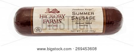 Winneconne, Wi - 8 November 2018: A Package Of Hickory Farms Summer Sausage On An Isolated Backgroun