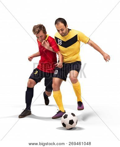 Two Fotball Players Struggling For The Ball Isolated On White