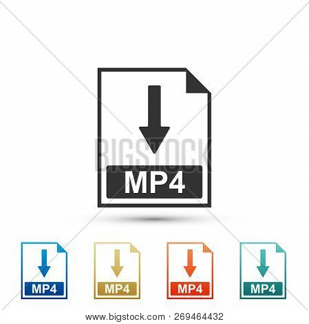 Mp4 File Document Icon. Download Mp4 Button Icon Isolated On White Background. Set Elements In Color