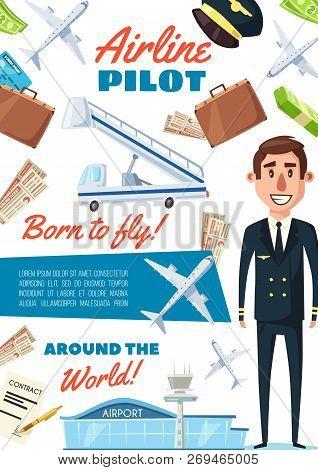 Pilot In Uniform, Recruitment Transportation Company Vacancy. Vector Aircraft Pilot Or Aviator And A