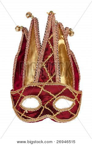 Decorative Red Gold Carnival Mask With Bells