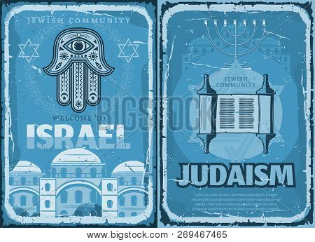 Welcome To Israel Travel Retro Poster, Judaism Religion. Vector Hamsa Hand And Israeli Synagogue, In