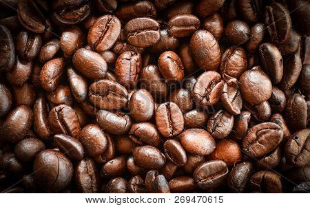 Coffee Beans /  Roasted Coffee Beans Background - Top View Coffee Beans Close Up  Beautiful For Coff