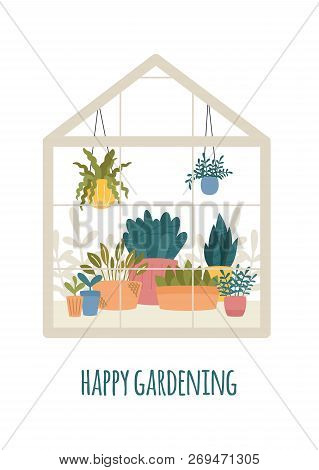 Greenhouse With Potted Garden Plants Vector Illustration, Cute Scandinavian Hygge Style.glass Green