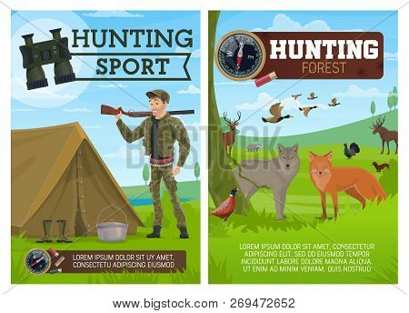 Huntsman, Birds And Animals, Hunting Sport. Fox And Wolf, Duck And Grouse, Blackcock And Badger, Elk