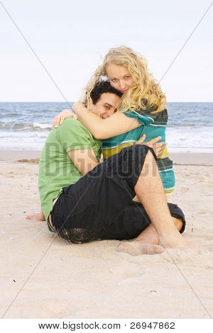 Multi-ethnic couple on beach
