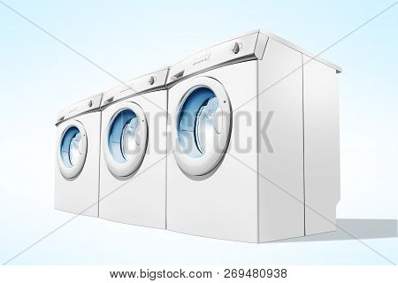 Rows Of Washing Machines Over Blue Background. Domestic Appliance