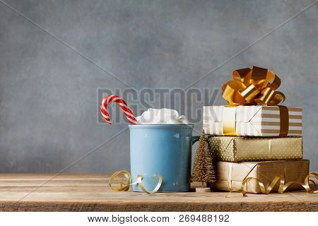 Winter Lifestyle With Cup Of Hot Cocoa With Marshmallows And Christmas Gift Or Present Boxes And Hol