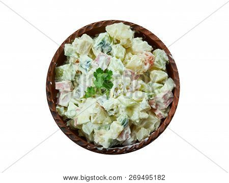 Rosols,  Latvian Potato Salad, Latvian Cuisine, Traditional Assorted Dishes, Top View.