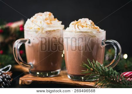 Christmas Hot Chocolate With Whipped Cream In Mug. Decorated With Golden Sugar Stars. Festive Christ