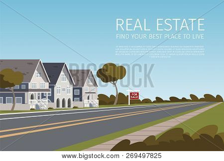 Real Estate Find Your Best Place To Live. Banner Vector Illustration Of Cartoon Real Estate A Family