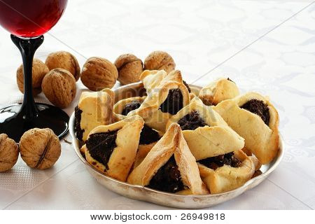 Homemade cookies with poppy seed filling  for Purim (Hamantaschen)