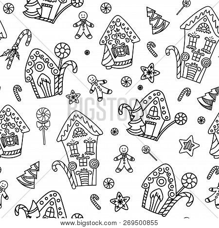 Christmas Seamless Pattern With Gingerbread House, Candy Canes And Lollipops. Hand Drawn Doodle Styl