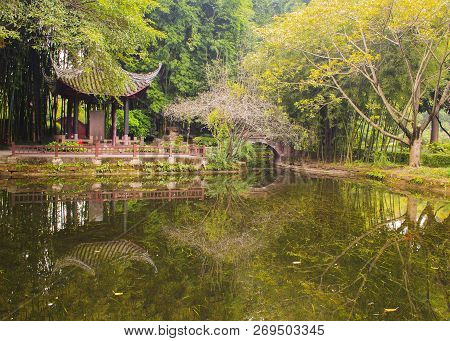 Landscapes Of Chinese Park. Chengdu City. China.