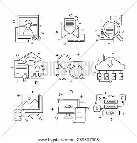 Social Media Communication Icon. Web Media Endorsement Community Group Person People Talking Line Sy