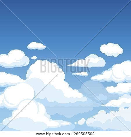 Sky With Fluffy Clouds. Clean Blue Panorama Of Cloudscape Cloudy Vector Cartoon Illustration. Fluffy