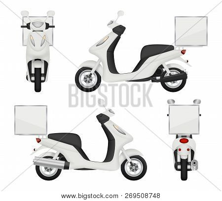 Moto Bike Realistic. Views Of Scooter For Delivery Service Auto Top Side Back Vector 3d Transport Is