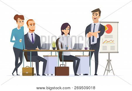 Group Managers Workplace. Businessman Team Working Expert Analyse Professional Specialists People At