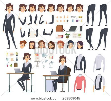 Female Business Animation. Director Office Manager Woman Body Parts Clothes And Business Wardrobe It