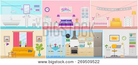 Room Interiors. Vector. Living Room, Bedroom, Bathroom, Nursery, Kitchen, Workplace In Flat Design.