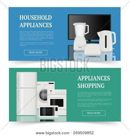 Appliances Shopping. Advertising Of Electrical Home Household Equipment Kitchen Items Vector Realist