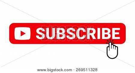 Subscribe Web Site Button. Online Video Channel Or Newsletter Subscribe Button With Finger Pointer,