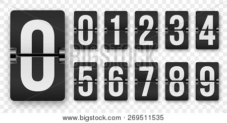 Countdown Numbers Flip Counter Vector Isolated Set. Retro Style Flip Clock Or Scoreboard Mechanical