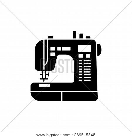 Black & White Vector Illustration Of Sewing Machine. Flat Icon Of Modern Computerized Tool For Patch