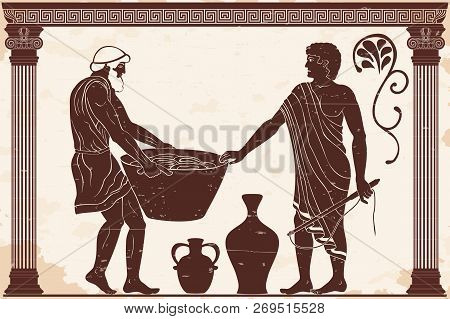 Ancient Greek Mans. Manager At The Household Yard And His Slave With A Heavy Basket In His Hands. Fi