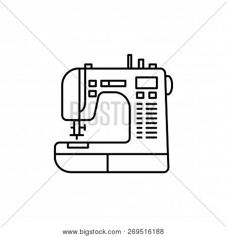 Black & White Vector Illustration Of Sewing Machine. Line Icon Of Modern Computerized Tool For Patch