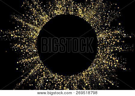 Gold Glitter Confetti Texture On A Black Background. Golden Explosion Of Confetti. Golden Grainy Dus