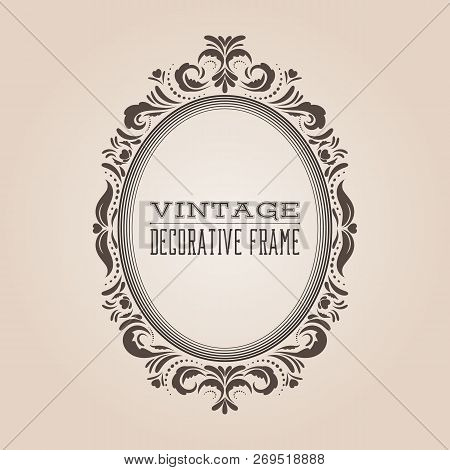 Oval Vintage Ornate Border Frame With Retro Pattern, Victorian And Baroque Style Decorative Design.